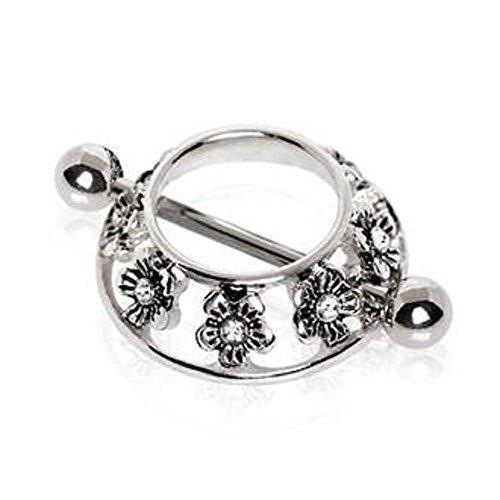 316L Stainless Steel Jeweled Flower WildKlass Nipple Shield