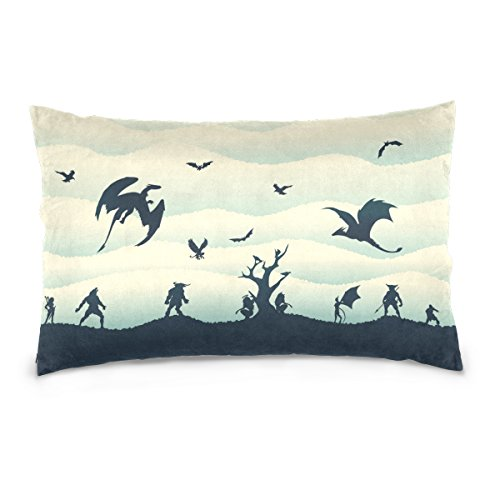 Cooper girl Monsters Dragons And Demons Silhouettes Pillow Case Sofa Bed Throw Pillow Cover Cotton Zipper 20x30 Inch