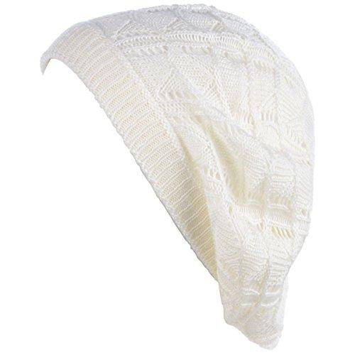 BYOS Chic Parisian Style Soft Lightweight Crochet Cutout Knit Beret Beanie Hat (Wavy Stripes Off White) (Hat Beanie Knit Stripe)
