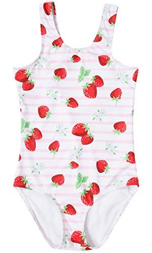 BeautyIn Kids One Piece Swimsuit Girls Strawberry Print Bathing Suit Swim Suit