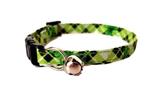 Green bias Plaid with Shamrocks Cat or kitten Collar Irish St. Patrick's Day Adjustable St Patty Irish Fabric bell Break Away Buckle (XS- Kitten)