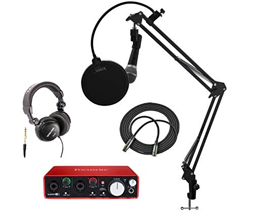 Focusrite Scarlett 2i2 USB Audio Interface (2nd Gen) + Microphone, Headphones, Knox Studio Stand, Pop Filter and XLR Cable