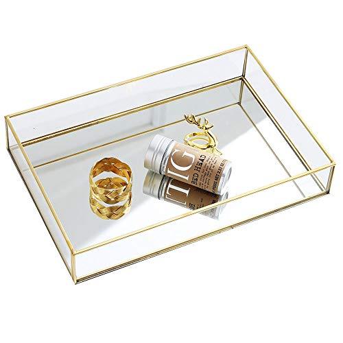 Purzest Perfume Tray, Vanity Tray Metal Mirrored Ornate Decorative Tray Jewelry Tray 12