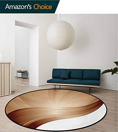 Upright Chocolate - RUGSMAT Chocolate Machine Washable Round Bath Mat,Spiraling Stripes with Monochrome Tones Modern Art Inspirations Abstract Non-Slip No-Shedding Bedroom Soft Floor Mat,Diameter-24 Inch