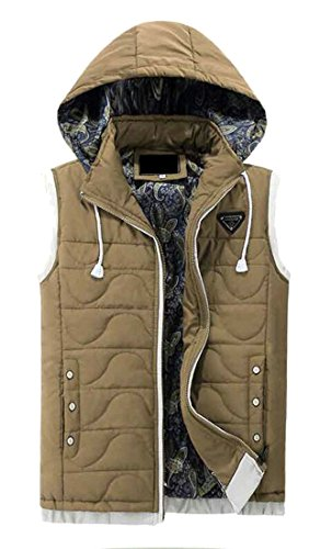 Removable Hooded Men's Brd Hot Warm UK Vest Khaki Sleeveless Puffer Winter Jacket Y0d7dxw