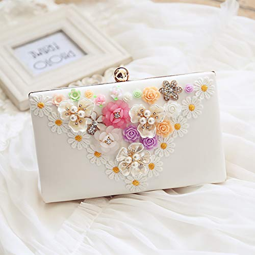 White Flower Purse Women Clutch Party Evening Bags Wedding Clutches Bag Bagood 7OWfn