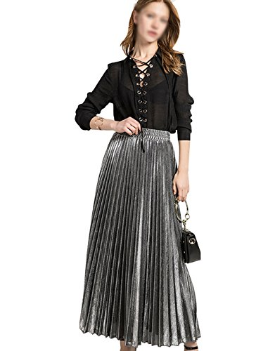 Sherry Skirts Women Summer Midi Skirt Metallic Elastic Long Pleated Skirt Shiny Shimmer A Line High Waist Skirts (Silver,L) ()