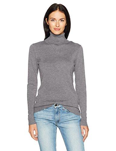 Gray Merino Wool Sweater (Pendleton Women's Timeless Merino Wool Turtleneck Sweater, Soft Grey Heather, L)