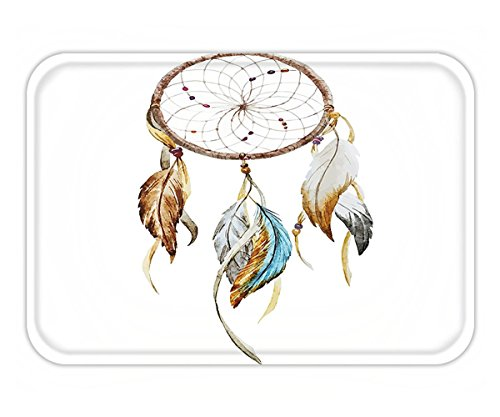 Minicoso Doormat Feather House Decor Boho Dream Hoop with Spider Web Knitting Legendary Protective Charm Design Multi