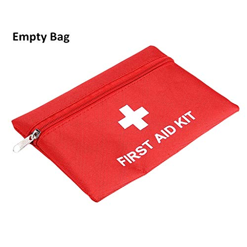 (Jipemtra First Aid Bag Backpack, First Aid Backpack Empty Portable Outdoor Travel Small Rescue Bag Foldable Pouch Tote EVA Hard Case First Responder for Camping Sport (Red)