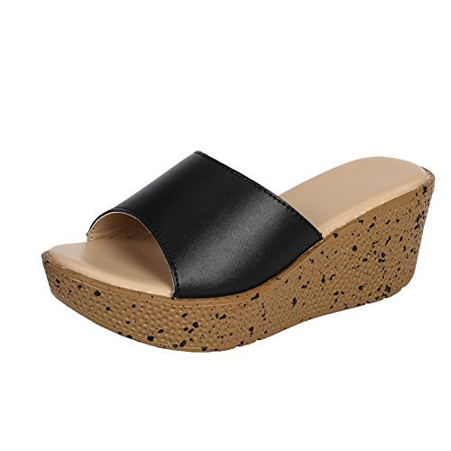 - MAIERNISI JESSI Women Platform Wedges Mule Mid Heel Open Toe Slides Sandals Black 40 - Size 8.5