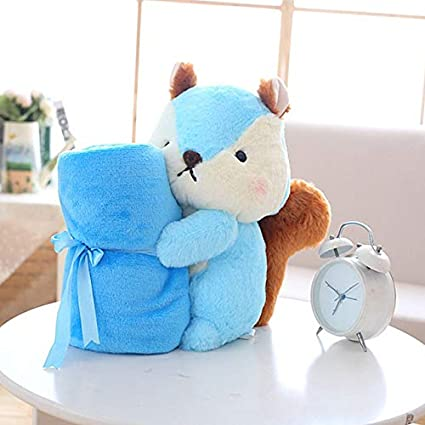 d397306b47 XuBa GD Baby Store Super Soft Coral Fleece Plush Squirrel Shape Baby  Rolling air condictioning Blanket Children nap time School Gift Blue   Amazon.in  Home   ...