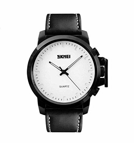 Skmei New Bold Design Analog Watch  1208 Black Genuine Leather