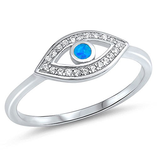 White CZ Blue Simulated Opal Evil Eye Halo Ring .925 Sterling Silver Band Size 7