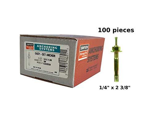 """Simpson Strong Tie Easy Set pin Drive Concrete Anchor 1/4"""" x 2 3/8"""" EZA25238 Expansion Anchor 100 per Box"""