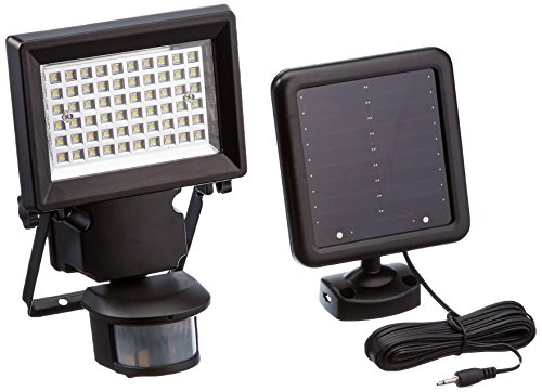 LED SOLAR MOTION SECURITY LIGHT, Powered by SunPower¨ Solar Panels, 60 LEDs, 5000k Daylight White Light, 400 Lumens, 2 Light Activation Modes: 1 min / 2 hrs