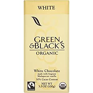Green & Black's Organic White Chocolate with Vanilla, 30% Cacao, 3.5 Ounce Bars (Pack of 10)