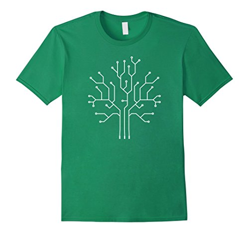 Mens Binary Tree Computer Coding T-Shirt - Gift For Programmers Medium Kelly Green