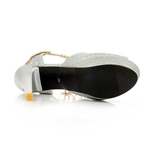 AllhqFashion Mujeres Hebilla Peep Tacón de aguja Sólido Sandalia Plateado