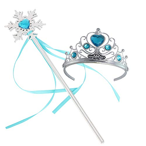 (Princess Dress Up Princess Wands Tiaras and Crowns for Little Girls Snowflake Wand Set Sky)