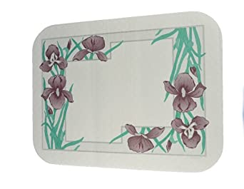 """Dinex DX5081A202733NS Paper Iris Garden Non-Skid Tray Cover with Scalloped Edge/Round Corner, 18-1/2"""" Length x 10-7/16"""" Width, Size A (Case of 1000)"""