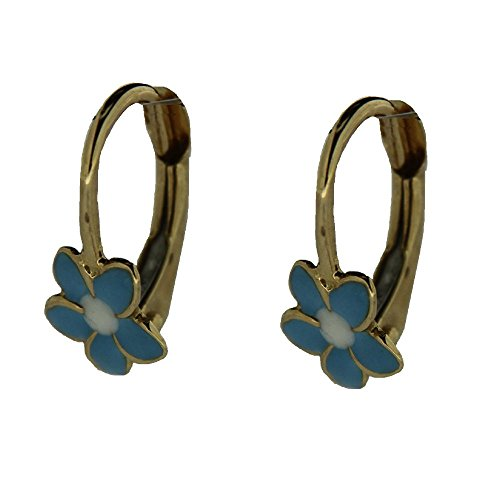 18 K Yellow Gold Blue and White enamel Leverback earrings by Amalia