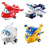 """Super Wings - Transforming Toy Figure 4 Pack, Jett, Paul, Astra, & Build-It Donnie