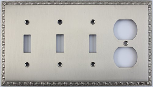 Egg & Dart Satin Nickel Four Gang Combo Wall Plate - Three Toggle Light Switches One Duplex Outlet