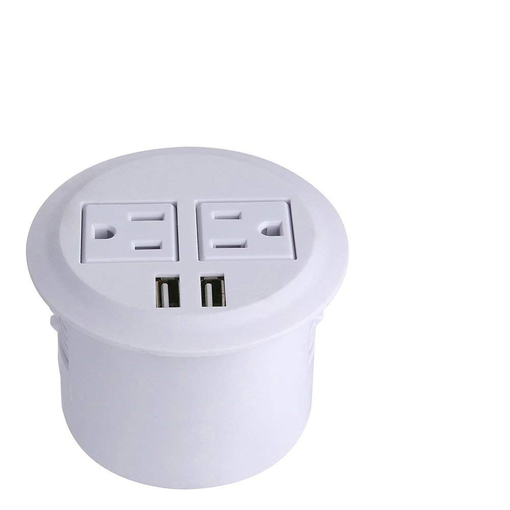 Power Grommet, Recessed Desktop Power Outlet 2 US Plugs & 2 USB Ports for Desk/Table, Kitchen, Office,Home,Hotel