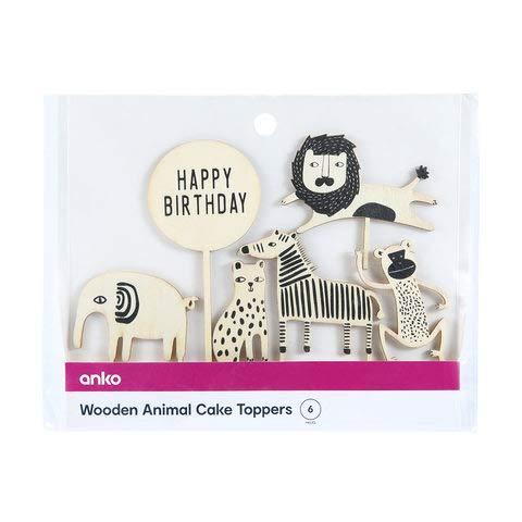 6 Pack Animal Wooden Cake Topper