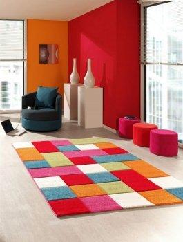 Kinderteppich Spielteppich Kinderzimmer Teppich Karo Muster Multicolour Rot Türkis Orange Creme Grün Pink Größe 160x230 cm