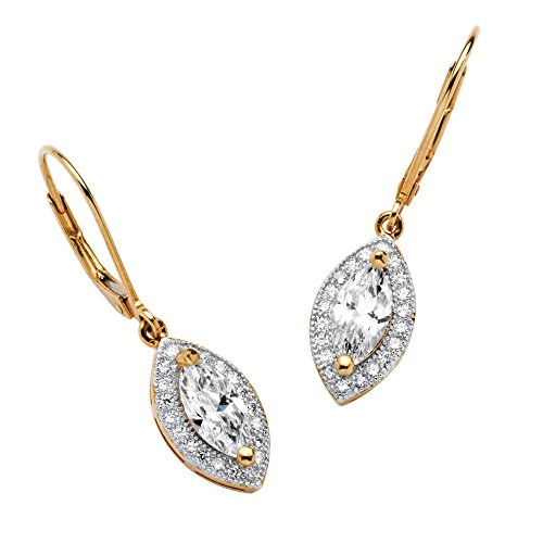 Marquise-Cut White Cubic Zirconia 18k Gold over .925 Silver Halo Drop Earrings