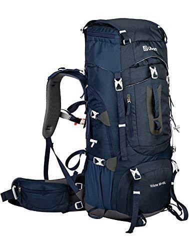 Ubon Internal Framed Hiking Backpack 60L Adjustable Torso Supportive Straps Camping Backpack 50L 10L with Rain Cover