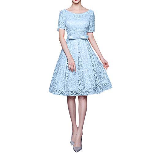 Spitze Marie Cocktailkleider Blau Abendkleider Himmel Brautjungfernkleider Langarm Rosa La Knielang Braut 6fxq7wwn