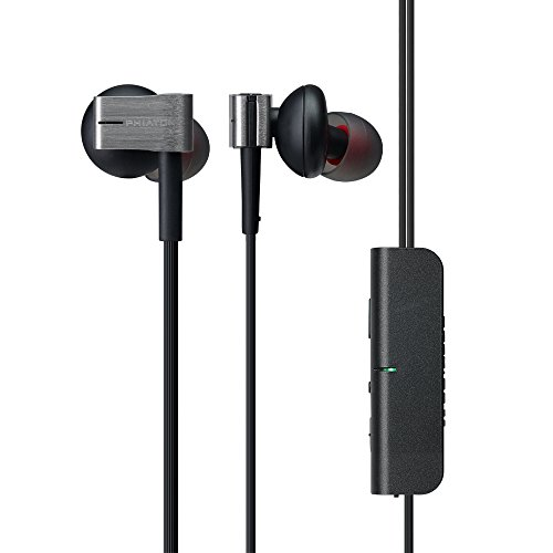 Phiaton PS 202 NC Active Noise Cancelling Headphones, Wired Earbuds in Ear Stereo Earphones with Microphone and Remote 10 Hours Playtime, 3.5mm Jack, Premium Aluminum Construction