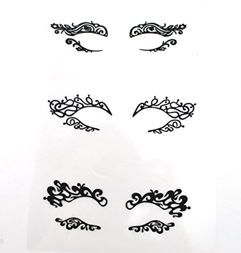 Black Fabric Eye shadow Tattoo Sticker Reusable Eye Liner Stickers Party Lace Stickers on Face ()