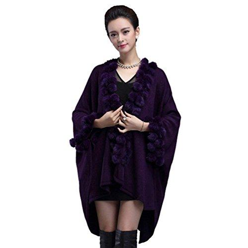 De Basic Tricot Veste Bouffant Warm Vetement Fourrure Jacken Haute Qualité Manteau Hiver Elégante Outwear Poncho Femme En Cape Violet Mode Art Outerwear v7wf6O