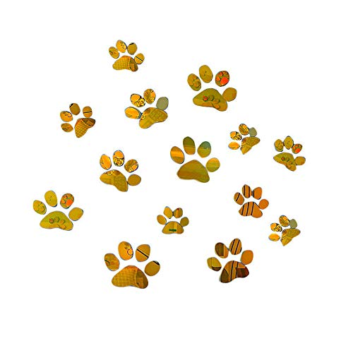 Wall Sticker SoungNerly Creative Fashion Bedroom Living Room Dog Claw Mirror Acrylic Stereo 3D Crystal Footprint pet Shop Children's Room Kindergarten Wall, Gold 5 1515cm -