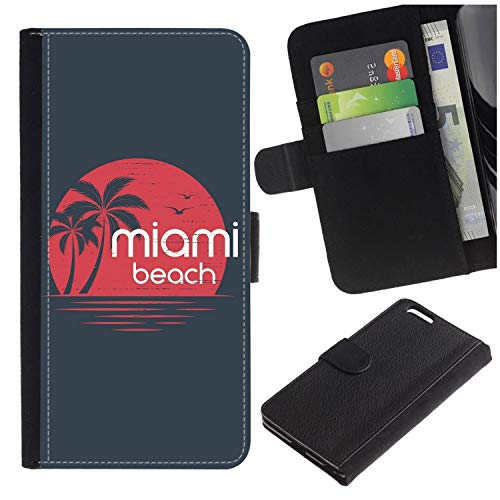 ([Miami Sunset Emblem with Palm Trees.] for LG Aristo/LG Phoenix 3 / K8 2017 / Fortune/Risio 2 / K4 2017 / V3, Flip Leather Wallet Holsters Pouch Skin Case)