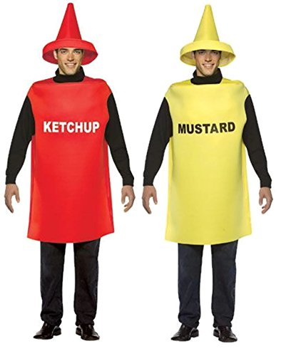 Ketchup and Mustard Bottle Adult Couples Costumes - (Bottle Of Mustard Costume)