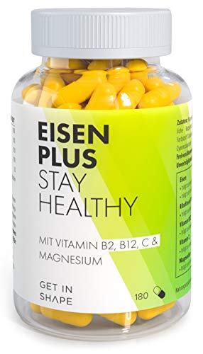 EISEN PLUS Kapseln vegan mit Magnesium, Vitamin C, B2, B12, hochdosiert. Mit hoher Bioverfügbarkeit gegen Müdigkeit und Ermüden. 180 Stück Vorrat für 6 Monate von GET IN SHAPE