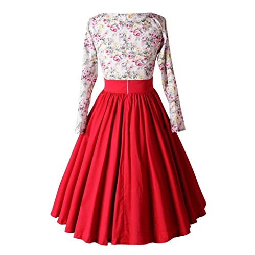 Robe Covermason Longues Swing Robe Sexy Party Robe Bouton Robe Femme Robe Taille Elegant Floral Swing Rouge Mini Manches Cocktail Robe Haute de Plisse Soire Vintage Cocktail Robe de 4XFw47qx