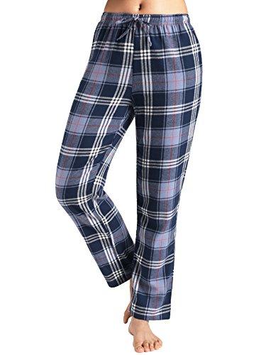 Latuza Women's Pajama Cotton Lounge Pants Plaid PJs Bottoms L NavyLight Blue - Flannel Womens Sleep Pant