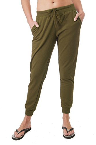 Hollywood Star Fashion Drawstring French Terry Joggers With Front Pockets (Large, Olive)