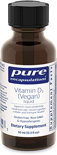 Pure Encapsulations - Vitamin D3 (Vegan) Liquid - Hypoallergenic Support for Bone, Breast, Prostate, Cardiovascular, Colon and Immune Health* - 10 ml (0.3 fl oz)