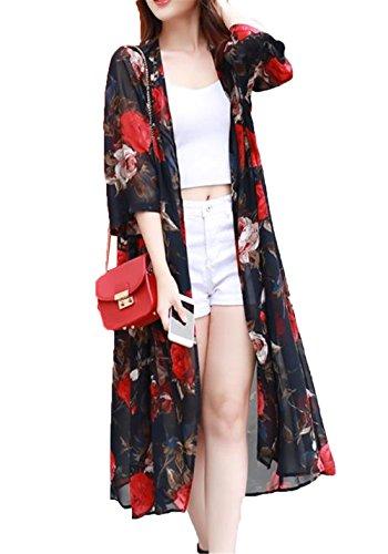 [ジャンーウェ]レディース シフォン 薄手 超ロング カーディガン 七分袖 花柄 ふんわり ビーチウェア 日焼け止め 冷房対策 おしゃれ