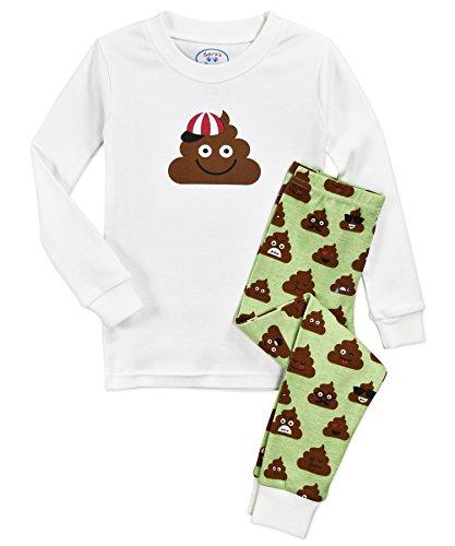 Sara's Prints Kids' Little Cotton Long John Pajamas, Poop emoji's, 7