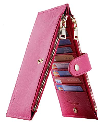 Travelambo Womens Walllet RFID Blocking Bifold Multi Card Case Wallet with Zipper Pocket (CH Red Rose 2250)