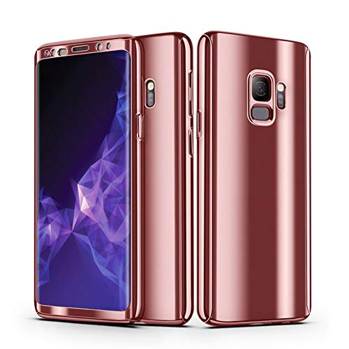 Galaxy S9 Case + Screen Protector Alsoar Samsung Galaxy S9 Plus Cover 2 in 1 360 Full Body Protection PC case Ultra Thin Hard Plating Shockproof Non-Slip Protective Cover (Rose Gold, Galaxy S9 Plus)