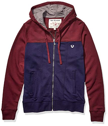 True Religion Men's Ls Denim Fashion Zip Hoodie